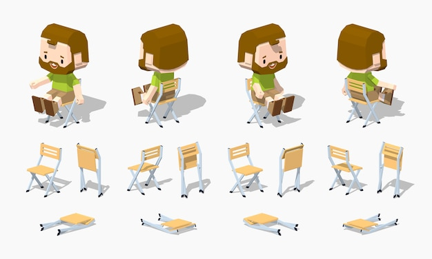 3d lowpoly isometric folding chair