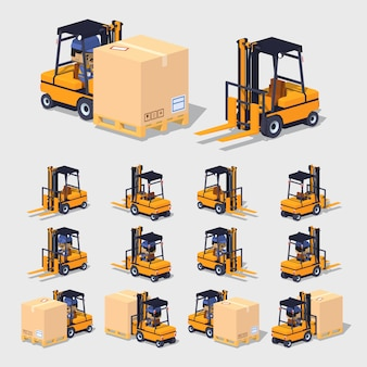 3d lowpoly isometric forklift