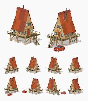 3d lowpoly isometric a-frame wooden house