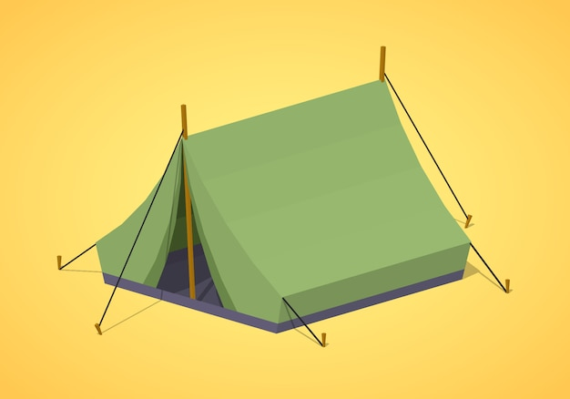 3d lowpoly isometric green camping tents