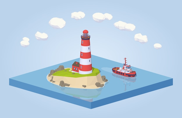3d lowpoly isometric lighthouse and tugboat