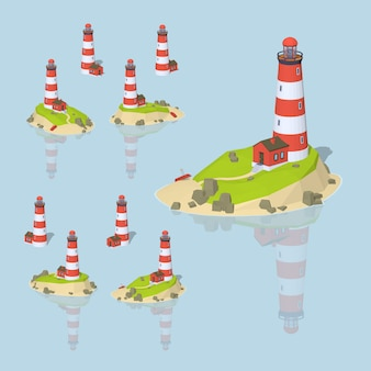 3d lowpoly isometric lighthouse