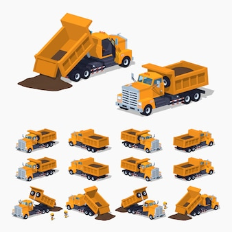 3d lowpoly isometric loaded orange dumper