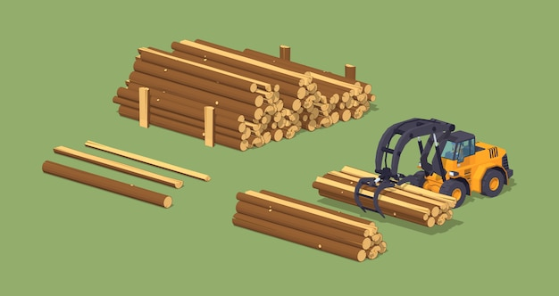 3d lowpoly isometric log loader and the log piles