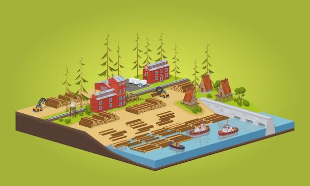 川の近くの3 d低ポリ等尺性木材工場 Premiumベクター