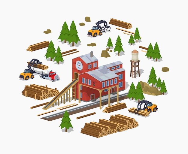 3d lowpoly isometric lumber mill. sawmill building