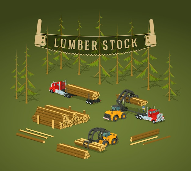 3d lowpoly isometric lumber stock