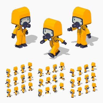 3d lowpoly isometric man in the protective suit