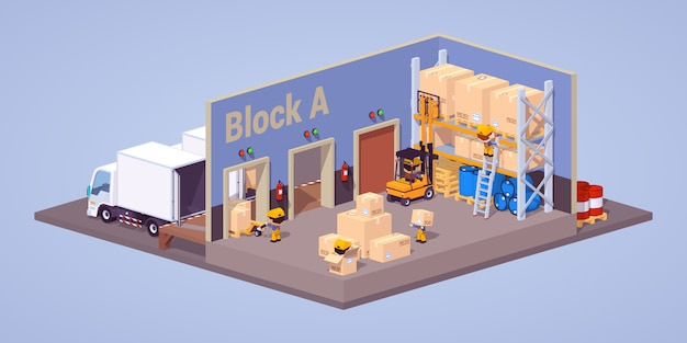 3d lowpoly isometric modern warehouse interior