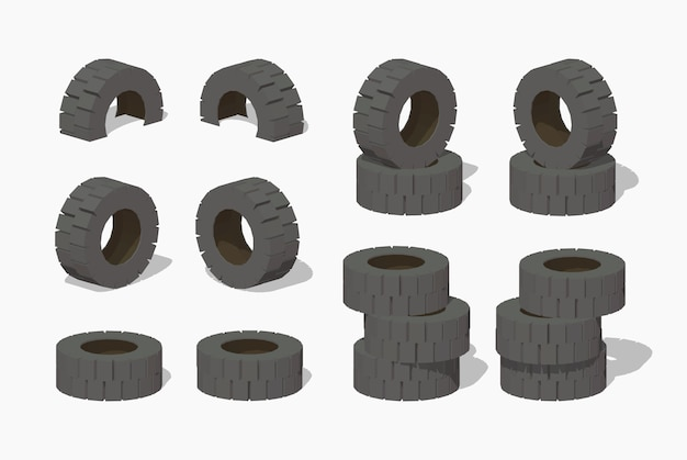 3d lowpoly isometric old rubber tires