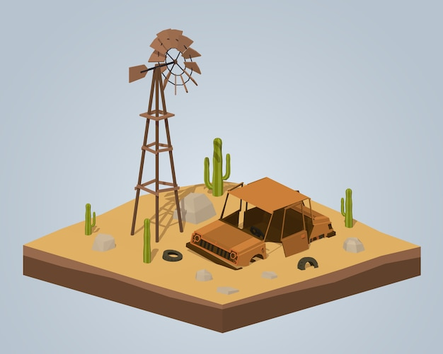 3d lowpoly isometric old rusty car in the desert