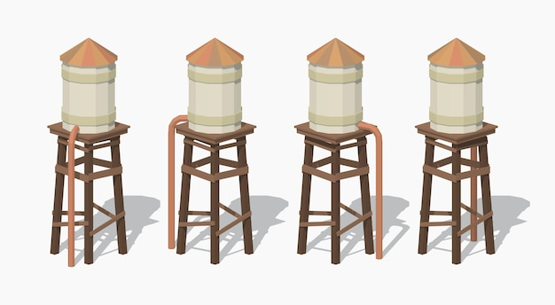3d lowpoly isometric old water tower