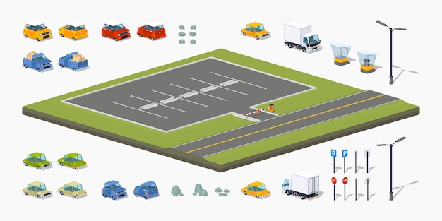 3d lowpoly isometric parking lot constructor