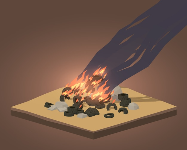 3d lowpoly isometric pile of burning tires