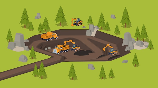 3d lowpoly isometric quarry. dig site