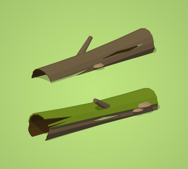 3d lowpoly isometric rotten logs