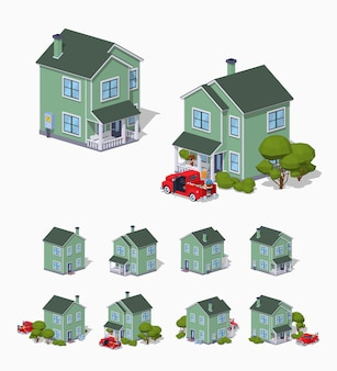 3d lowpoly isometric suburban house