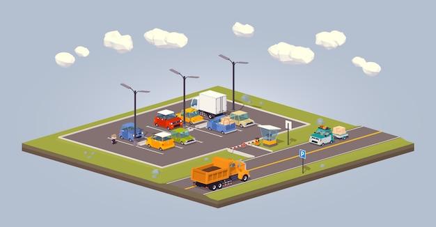 3d lowpoly isometric suburban parking lot