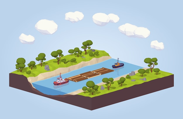 3d lowpoly isometric timber floating on a tow down the river
