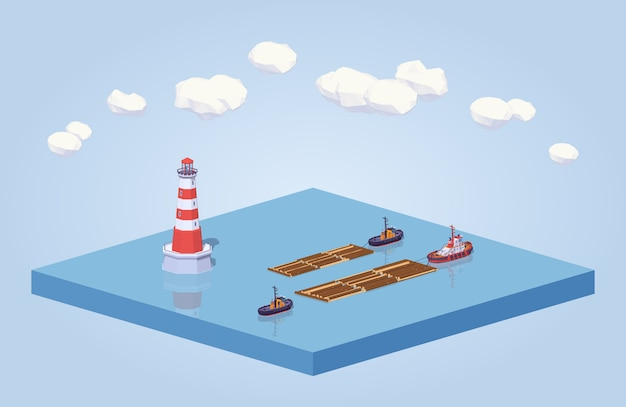 3d lowpoly isometric timber floating on tow at the sea
