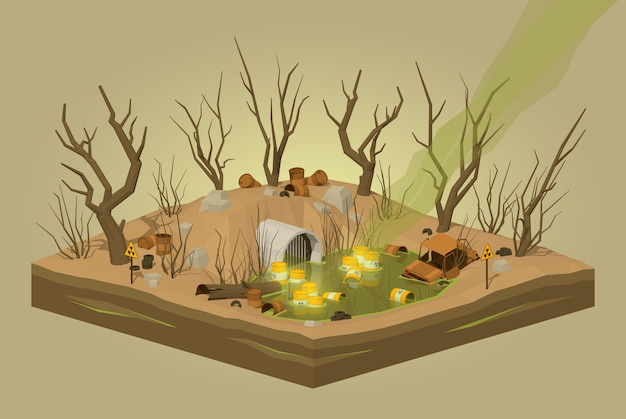 3d lowpoly isometric toxic waste dump