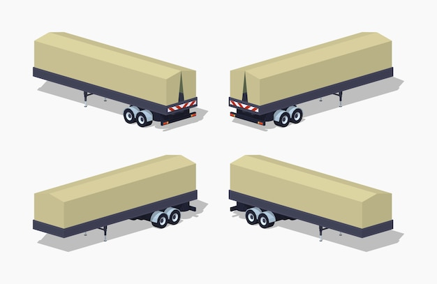 3d lowpoly isometric trailer with the tarpaulin tent