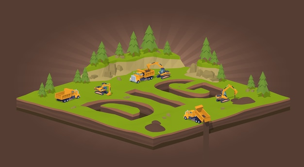 3d lowpoly isometric trenches in the form of the word dig