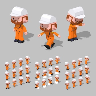 3d lowpoly isometric tugboat sailor