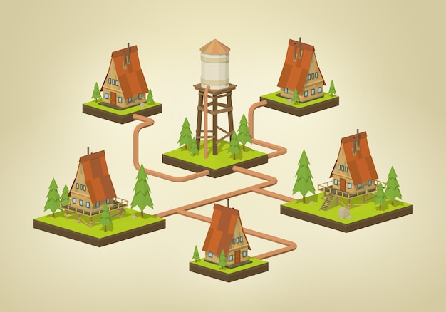3d lowpoly isometric water supply infographics
