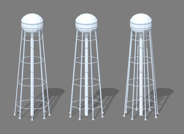3d lowpoly isometric water tower