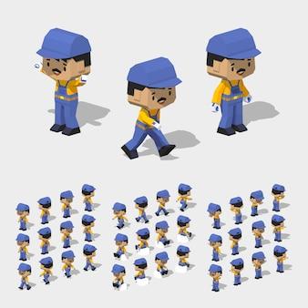 3d lowpoly isometric worker