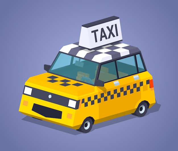 3d lowpoly isometric yellow taxi hatchback