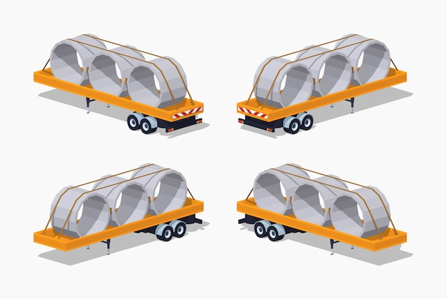 3d lowpoly isometric yellow trailer with concrete rings on it