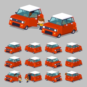 3d lowpoly modern red hatchback
