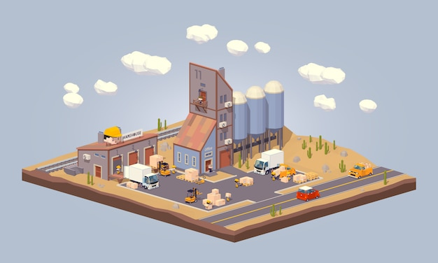 3d lowpoly warehouse in the desert