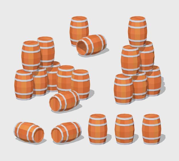 3d lowpoly wooden barrels
