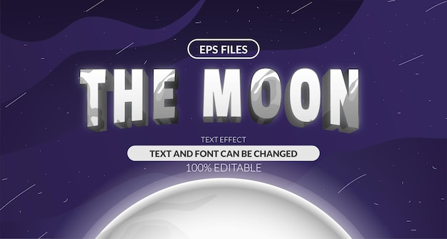 3d lunar moon solar system astrology editable text effect. eps vector file. planet space cosmic