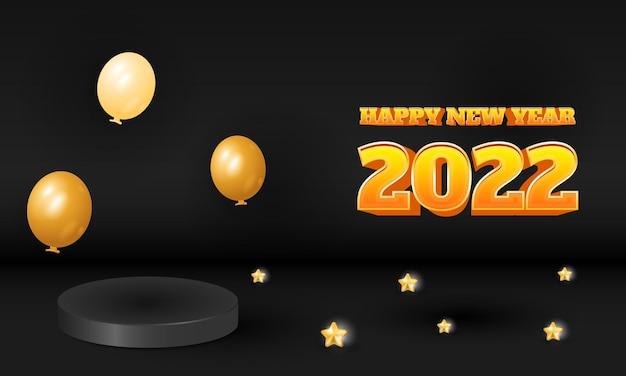 3d luxury black 2022 happy new year design with podium product display