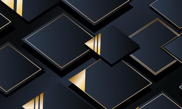 3dの豪華な海軍の幾何学的な正方形の背景。ベクトルイラスト。