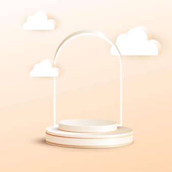 3d luxury podium with frame and cloud