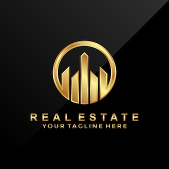 3D luxury real estate logo design template.