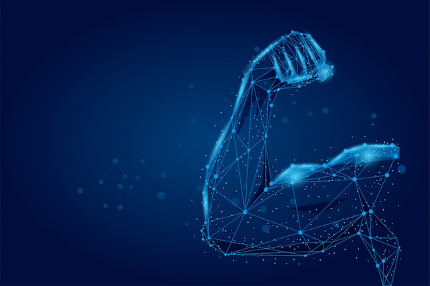 3d male hand muscles connected dots low poly wireframe. polygonal athlete body