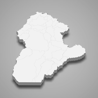 3d map of cordoba department of colombia illustration