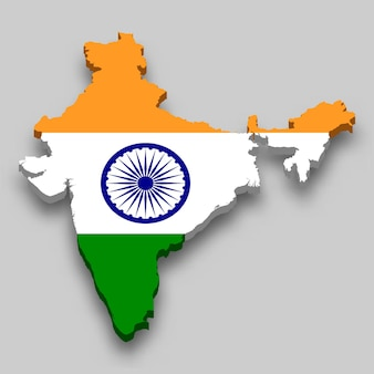 3d map of india with national flag.