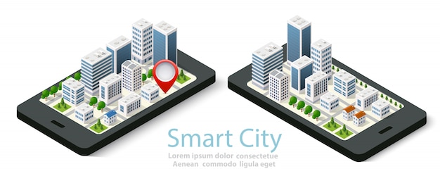 3d map isometric city of mobile
