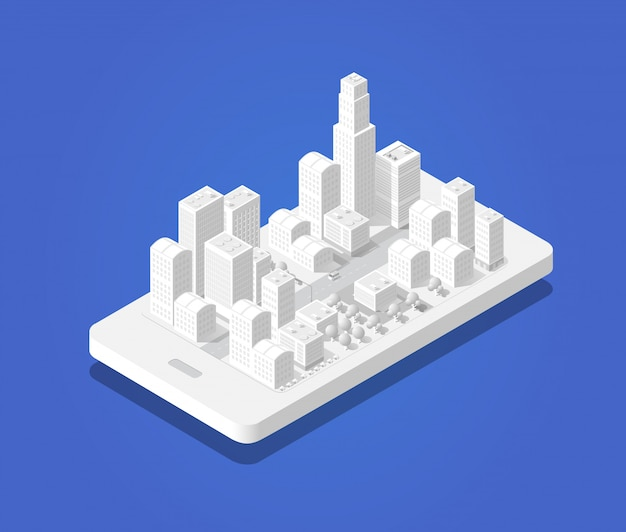 3d map isometric city