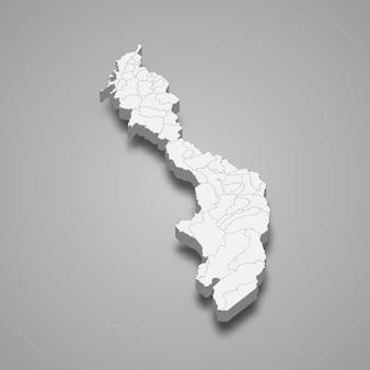 コロンビアの図のボリバル部門の3 dマップ