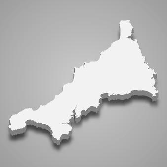 イングランドのコーンウォール儀式郡の3 dマップ