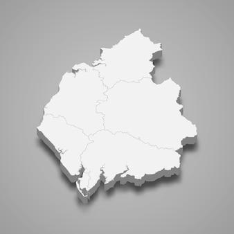 イギリスのカンブリア儀式郡の3 dマップ
