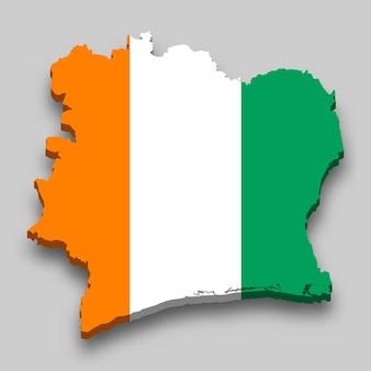 3d карта кот-д'ивуара с национальным флагом.